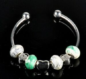 Lampwork-Glass-Silver-Plated-Heart-Lock-European-Bead-Charm-Bracelet
