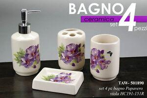 Accessori Bagno In Ceramica Decorata.Set 4 Pz Accessori Bagno In Ceramica Decorato Papavero Viola Taw 501890 Ebay