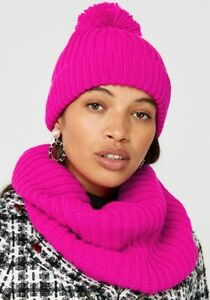 Monsoon Pink Ribbed Knitted Snood and Beanie Hat And Capped Gloves Set Bnwt