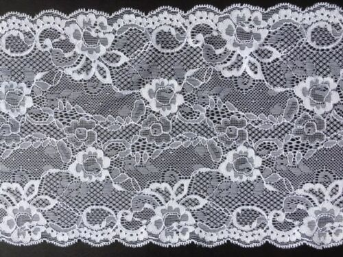 """laverslace Delicate White Floral Wide Stretch Tulle Lace Trim 7/""""//18 cm Sewing"""
