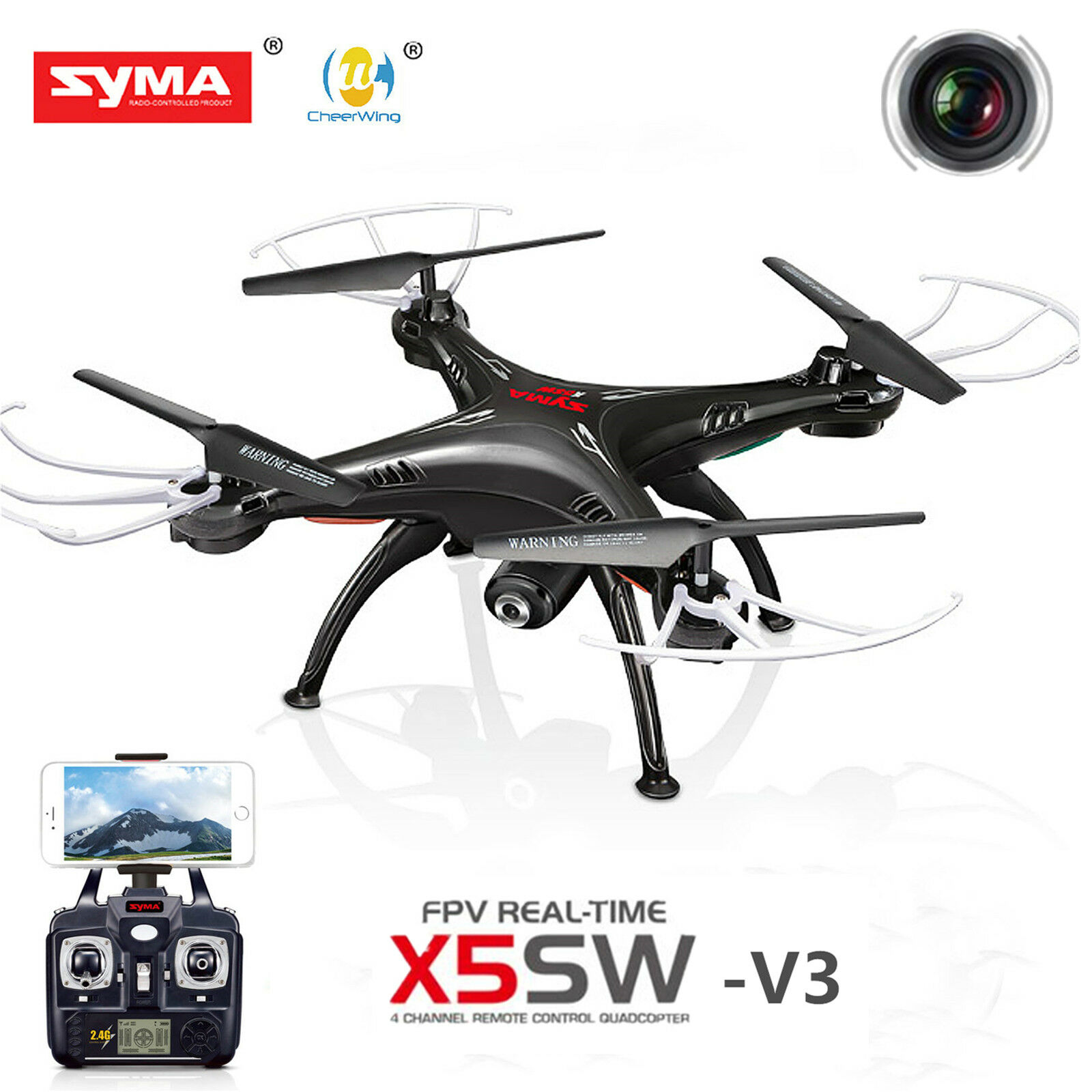 Syma X5SW-V3 Wifi Explorers 2.4G RC Headless Quadcopter  Drones with HD teletelecamera  vendita calda online