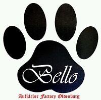 Sticker Dog Auto Aufkleber Hund Hunde Pfote mit Name Top Qualität