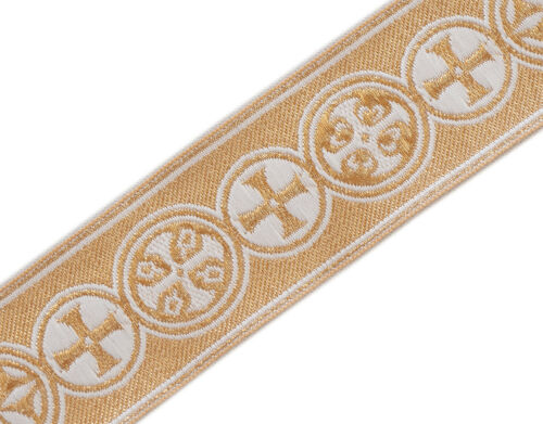 """Medieval Crosses in Circle Church Vestment Trim 1.5/"""" Wide White on Gold 5 Yds"""