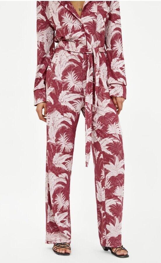 ZARA pink Leaf Printed Jumpsuit, Size L