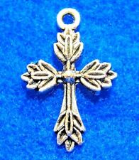 50Pcs. WHOLESALE Tibetan Silver CROSS Crucifix Charms Pendant Earring Drop Q0821