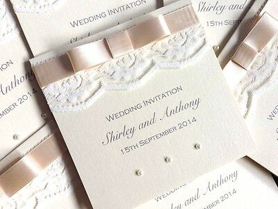 Pocketfold Wedding Invitation SAMPLE - IVORY LACE RIBBON & PEARLS