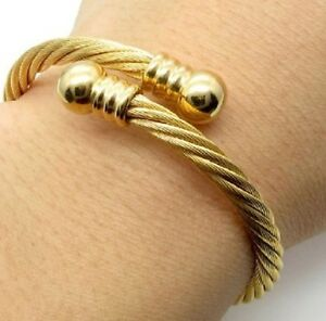Details About Stainless Steel Twisted Wire Cable Bangle Bracelet Gold Heavy Uk Er