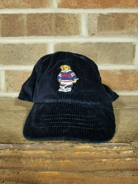 Ralph Lauren Polo Boys Corduroy Hockey Ski Bear Baseball Cap Hat Navy Blue