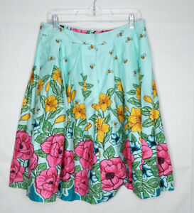 Pleated-Spring-Skirt-Women-Size-XL-Blue