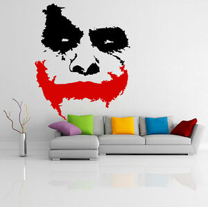Vinyl wall decal scary joker face movie batman the dark for Dark knight mural