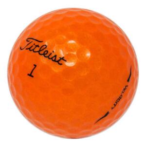 48-Titleist-Velocity-Orange-Mint-Used-Golf-Balls-AAAAA-In-a-Free-Bucket