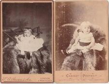 2 x Antique Victorian CABINET PHOTOGRAPH of BABIES INFANTS CHILDREN in dresses