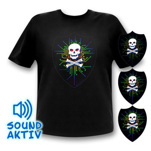 Les pirates Shirt Tete De Mort Shirt puce CPU T-shirt leuchtshirt hackerlogo DEL Fête
