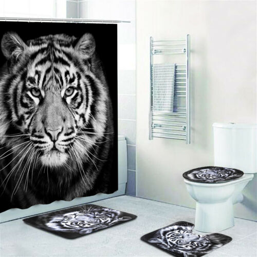 Tiger Printing Bathroom Shower Curtain Toilet Pedestal Cover Mat Non-Slip Rug