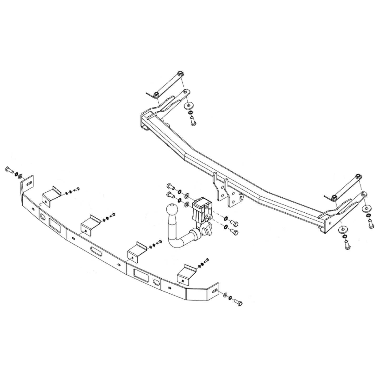 Flange Tow Bar Brink Towbar for Volkswagen Caddy Van Mk3 2004-2015