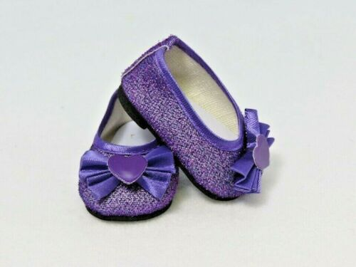 """Doll Clothes 18/"""" Shoes Ballet Sparkle Purple Heart  Fits American Girl Dolls"""