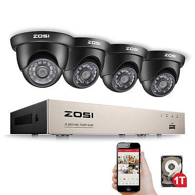 ZOSI HD 720P 8CH HDMI DVR 1500TVL Outdoor Überwachungskamera System 20M IR 1TB