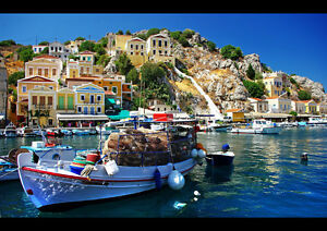 FISHING-VILLAGE-GREECE-NEW-A3-CANVAS-GICLEE-ART-PRINT-POSTER