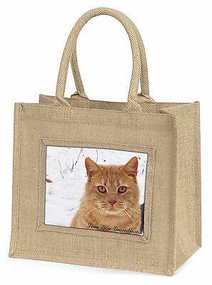 Rote Katze 'Liebe dich Oma' Große Natürliche Jute-einkaufstasche Chri,