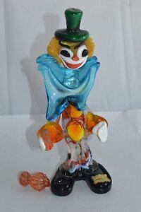 Defekt-Grosser-Alter-Murano-Clown-Glasfigur-22-cm-Venedig-60er-70er-Jahre-RAR-n