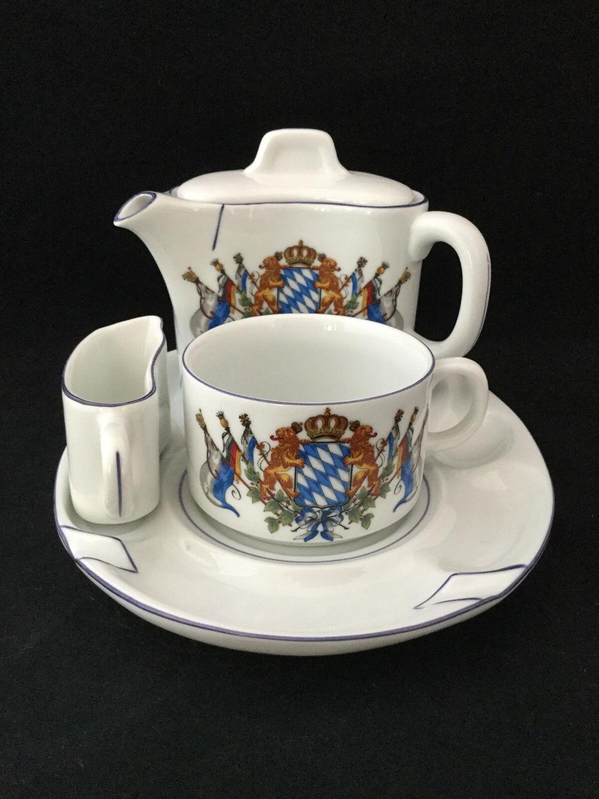 Pozellan frabrik Lang Ebrach Armoiries Théière Creamer tasse et assiette de service