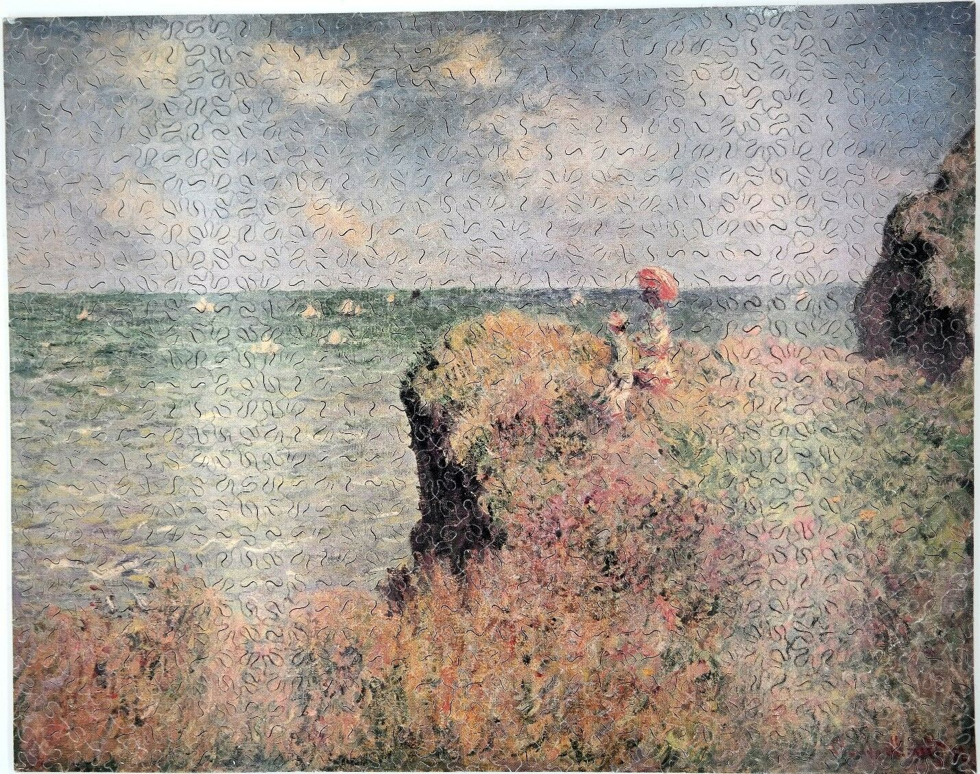 Nuovo Hand Cut Wooden Monet  The Cliff Walk  605 pc Jigsaw Puzzle in plywood box