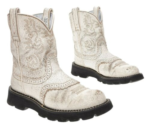 ARIAT FATBABY Cowboy Boots 8.5 B Womens White Lea… - image 1