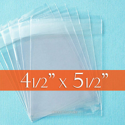 "100 Clear Cello Bags, 4.5"" x 5.5"" Resealable Poly Cellophane, 4 1/2 x 5 1/2 inch"