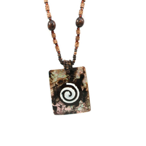 Brown Mesmerizing Island Inspired Bead Necklace with Shell Charm /& Spiral