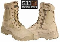 """5.11 Mens ATAC 8"""" Coyote Tactical Boots - Tan Side Zip Field Duty Work Boot"""