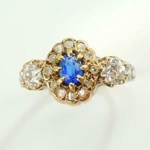 18-Carat-Gold-Antique-Victorian-Edwardian-Sapphire-amp-Diamond-Ring