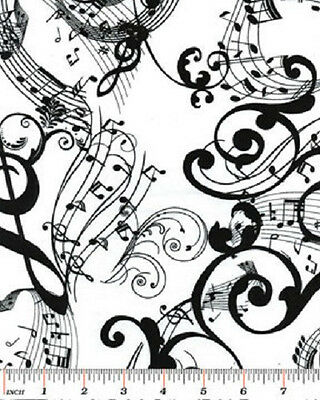 Musical Notes Fabric White & Black Mozart's Mind Treble Composer Sheet Benartex