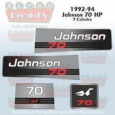 1992-94 Johnson 70 HP Outboard Reproduction 4 Pc Marine Vinyl Decals 3 Cylinder