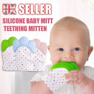 2X Silicone Baby Mitts Teething Mitten Infant Glove Candy Wrapper Sound Teether