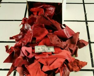 10LB-BOX-MIXED-RED-various-Reds-Large-Scrap-Leather-Remnants