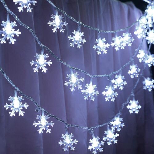 LED Snowflake String Light Christmas Tree Window Hanging Fairy Garden Decor UK