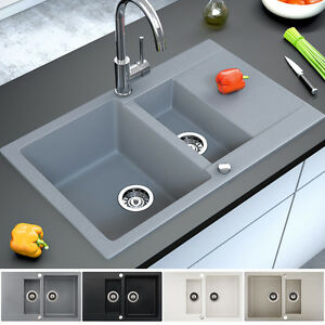granit sp le k chensp le einbausp le doppelsp le sp lbecken drehexcenter siphon. Black Bedroom Furniture Sets. Home Design Ideas