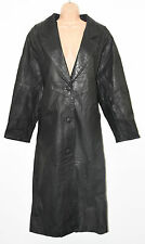 Vintage Black Leather PELLE STUDIO Fitted Biker Button Coat Long Jacket Size S