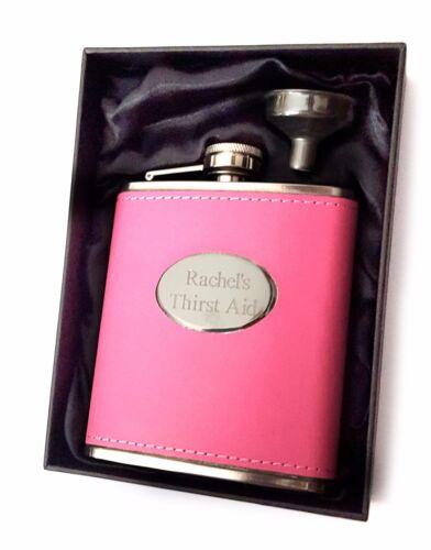 LADIES ENGRAVED PINK HIP FLASK SET Girls Handbag Gift Satin Box New PERSONALISED