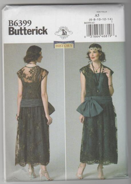 Butterick Sewing Pattern 6399 History 20s Ladies Flapper Dress Pick ...