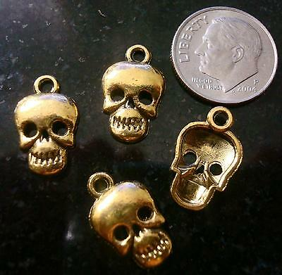 4 Golden skulls jewelry pendant charms antique gold plated zinc findings cfp041
