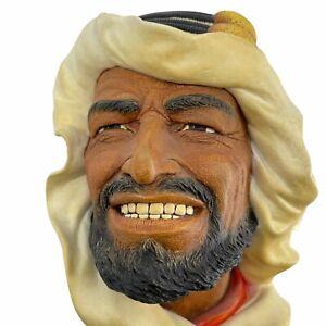 VTG Bosson's Chalkware Head Arab Shiek Shepherd Smiling Wall Plaque England