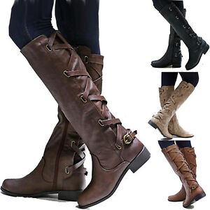 Womens-Knee-High-Booties-Motorcycle-Flat-Low-Heel-Boots-Riding-Leg-Calf-Shoes