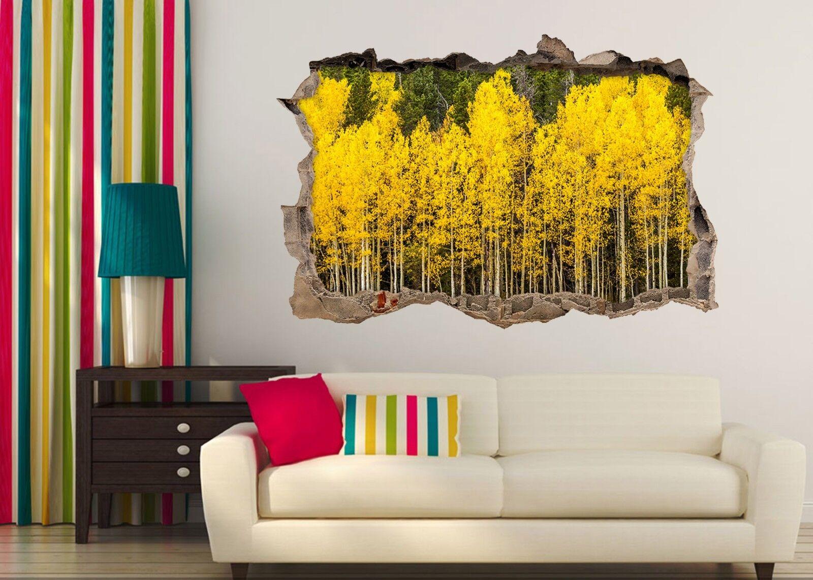3D Gelbe Bäume 205 Mauer Murals Mauer Aufklebe Decal Durchbruch AJ WALLPAPER DE