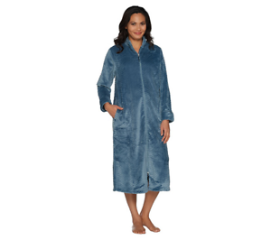 68b93ee3ac Stan Herman Petite Silky Plush Trimmed Wave Long Zip Robe 3X Dresden ...