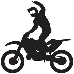 MOTOCROSS DIRT BIKE SPORT SUPERMAN RIDING WINDOW BOAT VINYL DECAL - Bike vinyl stickers