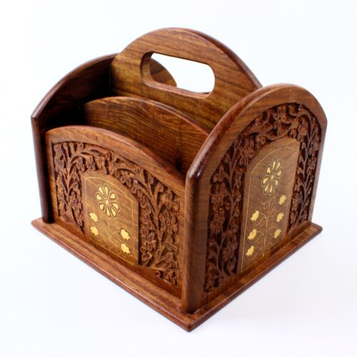 Remote Control Stand Hand Carved Wooden Holder Organiser TV Caddy 5 Compartments