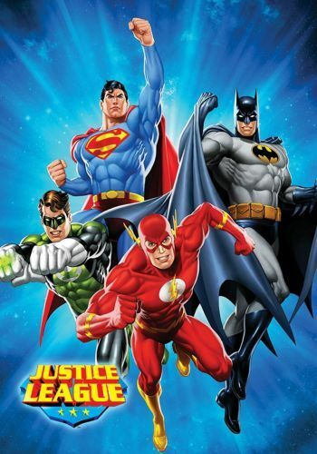 Justice League Superman, Batman, the Flash, and Green Lantern Sunburst bluee Twin