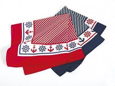 Halstuch Anker//Steuerrad ca 54 x 54 cm rot oder blau