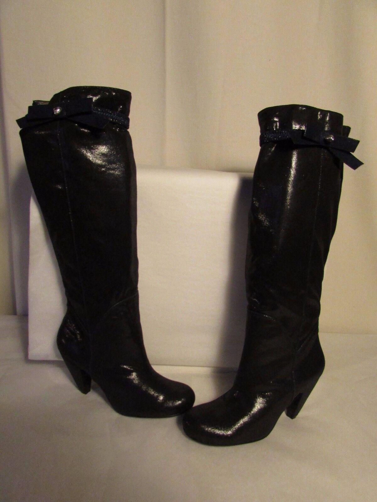 Stivali LOLLIPOPS pelle di svezia nero con bordatura bordatura con blu navy 39 ef2d7a